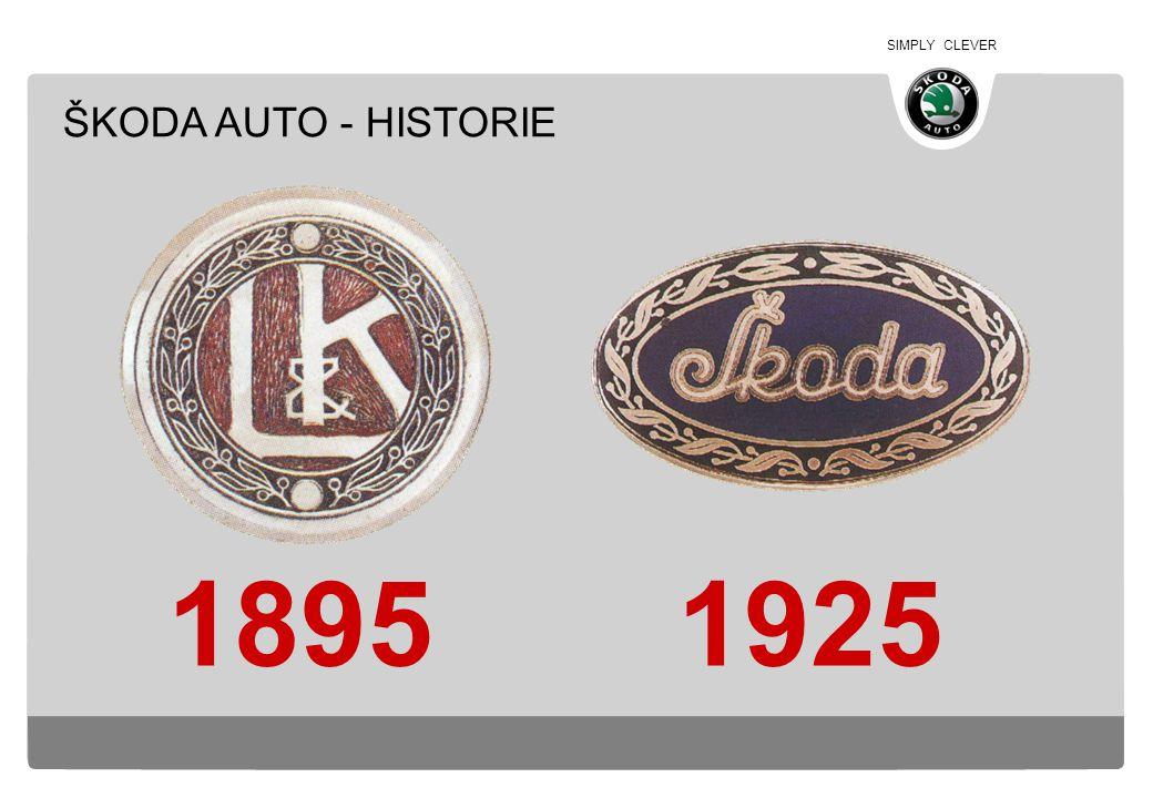 SIMPLY CLEVER Založeno pány Laurin & Klement (původně závod na výrobu kol a motocyklů) Začátek automobilové výroby Sloučení se ŠKODA Plzeň Připojení závodů Kvasiny a Vrchlabí Joint-Venture s VW 1895 1905 1925 1950 duben 1991 DĚJINY A DNEŠEK