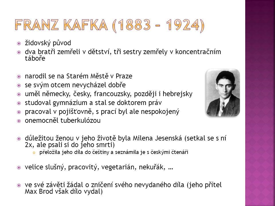 židovský původ  dva bratři zemřeli v dětství, tři sestry zemřely v koncentračním táboře  narodil se na Starém Městě v Praze  se svým otcem nevycházel dobře  uměl německy, česky, francouzsky, později i hebrejsky  studoval gymnázium a stal se doktorem práv  pracoval v pojišťovně, s prací byl ale nespokojený  onemocněl tuberkulózou  důležitou ženou v jeho životě byla Milena Jesenská (setkal se s ní 2x, ale psali si do jeho smrti) přeložila jeho díla do češtiny a seznámila je s českými čtenáři  velice slušný, pracovitý, vegetarián, nekuřák, …  ve své závěti žádal o zničení svého nevydaného díla (jeho přítel Max Brod však dílo vydal)