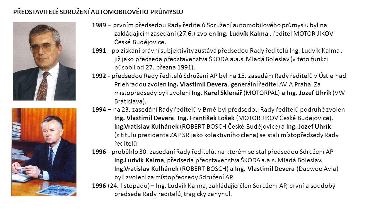 1989 – prvním předsedou Rady ředitelů Sdružení automobilového průmyslu byl na zakládajícím zasedání (27.6.) zvolen Ing. Ludvík Kalma, ředitel MOTOR JI