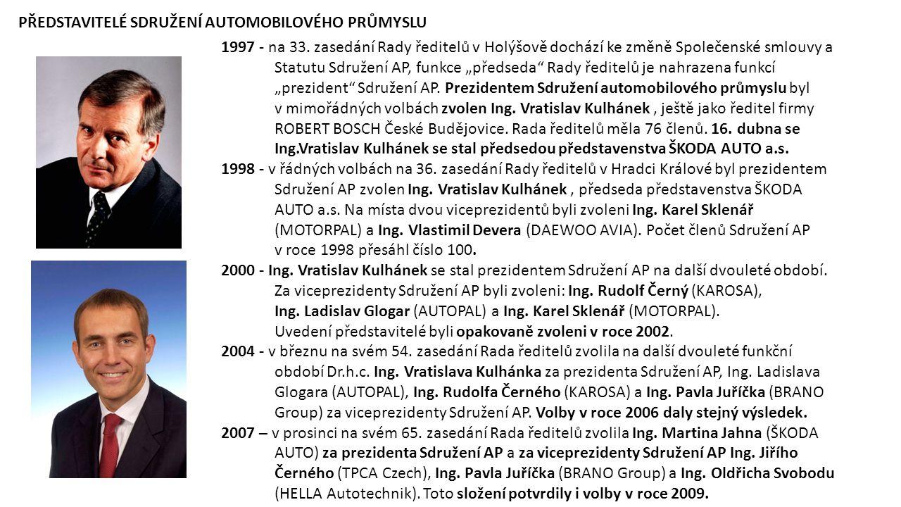 """1997 - na 33. zasedání Rady ředitelů v Holýšově dochází ke změně Společenské smlouvy a Statutu Sdružení AP, funkce """"předseda"""" Rady ředitelů je nahraze"""