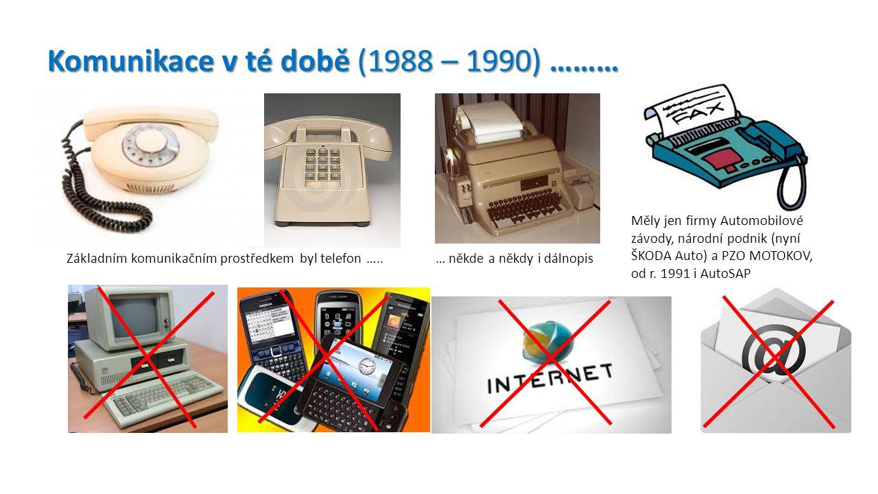 Měly jen firmy Automobilové závody, národní podnik (nyní ŠKODA Auto) a PZO MOTOKOV, od r. 1991 i AutoSAP Komunikace v té době (1988 – 1990) ……… Základ