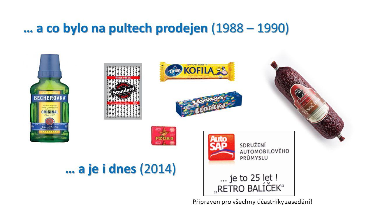 … a co bylo na pultech prodejen (1988 – 1990) … a co bylo na pultech prodejen (1988 – 1990) … a je i dnes (2014) … a je i dnes (2014) Připraven pro vš
