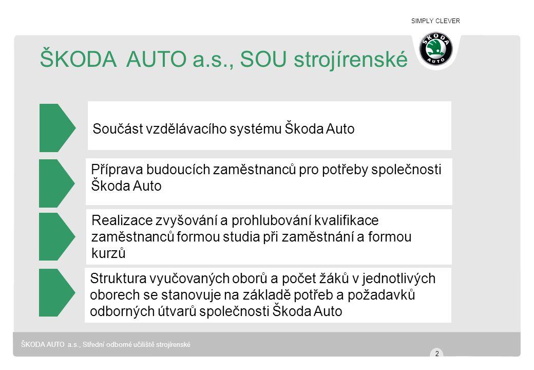 SIMPLY CLEVER ŠKODA AUTO a.s., Střední odborné učiliště strojírenské ŠKODA AUTO a.s., SOU strojírenské Součást vzdělávacího systému Škoda Auto Příprav