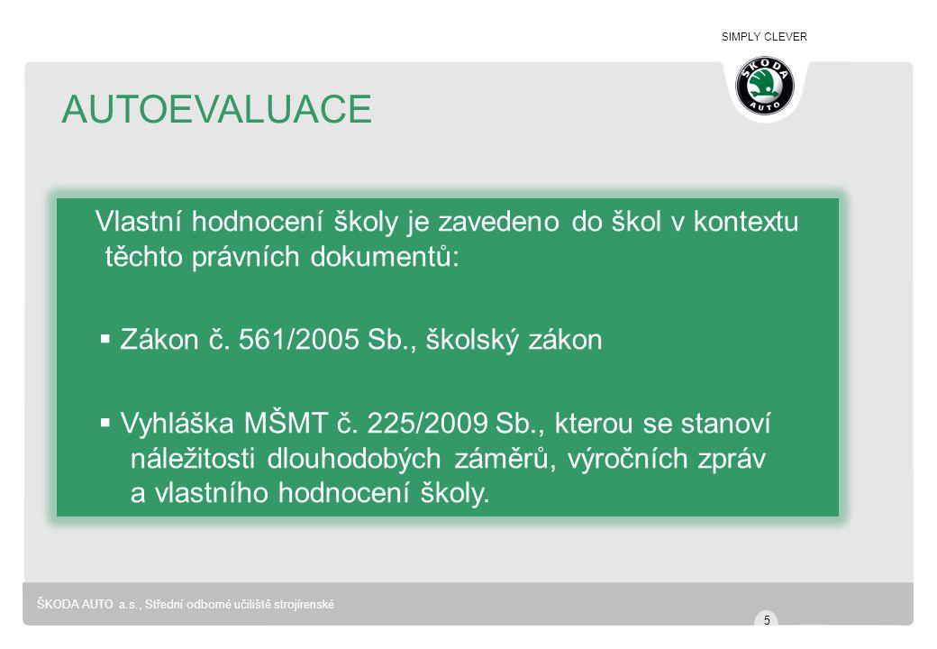 SIMPLY CLEVER ŠKODA AUTO a.s., Střední odborné učiliště strojírenské AUTOEVALUACE Vlastní hodnocení školy je zavedeno do škol v kontextu těchto právní