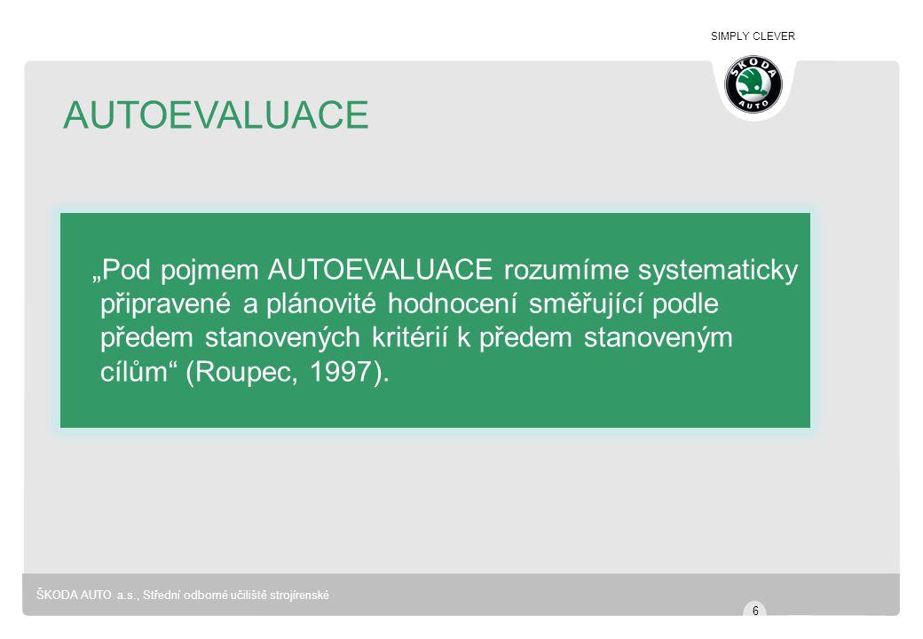 """SIMPLY CLEVER ŠKODA AUTO a.s., Střední odborné učiliště strojírenské AUTOEVALUACE """"Pod pojmem AUTOEVALUACE rozumíme systematicky připravené a plánovité hodnocení směřující podle předem stanovených kritérií k předem stanoveným cílům (Roupec, 1997)."""