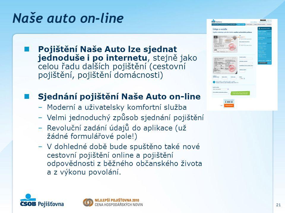 21 Naše auto on-line Pojištění Naše Auto lze sjednat jednoduše i po internetu, stejně jako celou řadu dalších pojištění (cestovní pojištění, pojištění domácnosti) Sjednání pojištění Naše Auto on-line –Moderní a uživatelsky komfortní služba –Velmi jednoduchý způsob sjednání pojištění –Revoluční zadání údajů do aplikace (už žádné formulářové pole!) –V dohledné době bude spuštěno také nové cestovní pojištění online a pojištění odpovědnosti z běžného občanského života a z výkonu povolání.