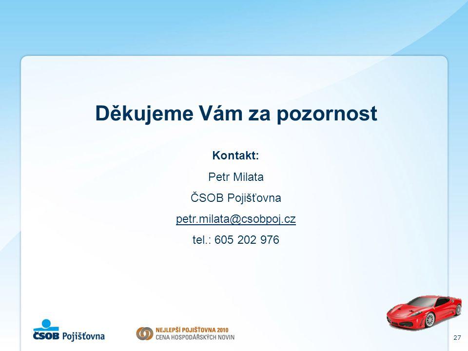27 Děkujeme Vám za pozornost Kontakt: Petr Milata ČSOB Pojišťovna petr.milata@csobpoj.cz tel.: 605 202 976