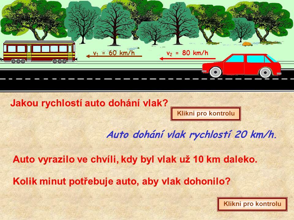 v 1 = 60 km/hv 2 = 80 km/h Jakou rychlostí auto dohání vlak? Klikni pro kontrolu Auto dohání vlak rychlostí 20 km/h. Auto vyrazilo ve chvíli, kdy byl