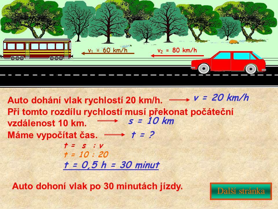 Další stránka v 1 = 60 km/hv 2 = 80 km/h Auto dohání vlak rychlostí 20 km/h. Při tomto rozdílu rychlostí musí překonat počáteční vzdálenost 10 km. t =