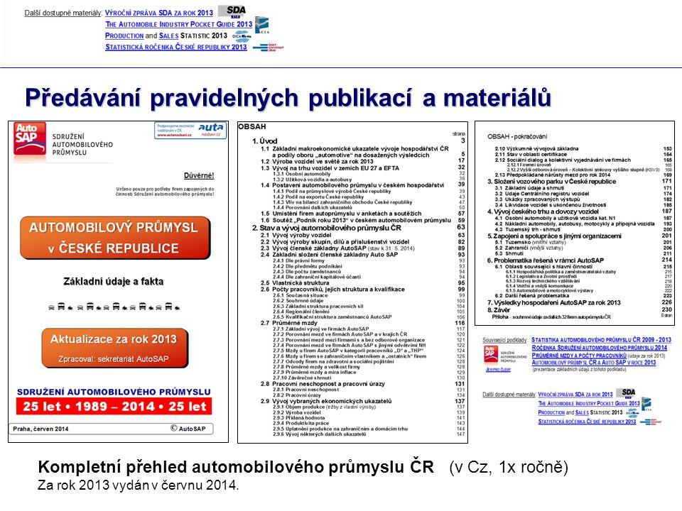 Předávání pravidelných publikací a materiálů Kompletní přehled automobilového průmyslu ČR (v Cz, 1x ročně) Za rok 2013 vydán v červnu 2014.