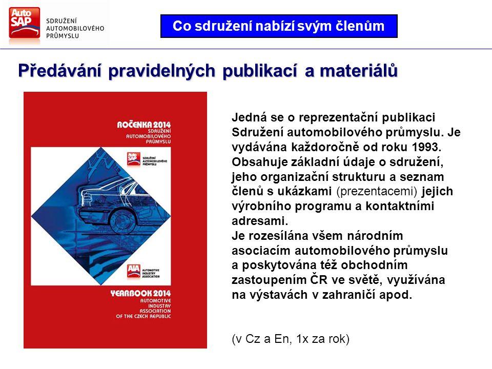 Předávání pravidelných publikací a materiálů Co sdružení nabízí svým členům Jedná se o reprezentační publikaci Sdružení automobilového průmyslu.