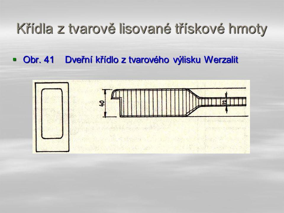 4.4.9.1 Křídla z tvarově lisované třískové hmoty  Křídla z třískové hmoty se vyrábějí technologií Werzalit, tj. tvarovým lisováním se současnou lamin