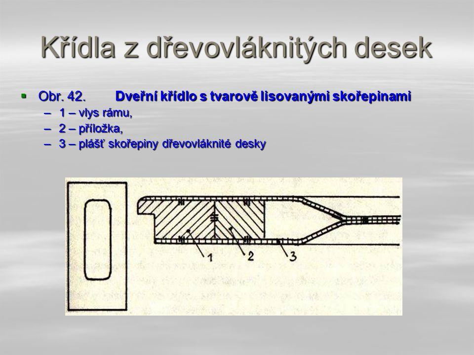 4.4.9.2 Křídla z dřevovláknitých desek  Křídla jsou vyrobena z kombinace masivního dřeva a tvarovaných dřevovláknitých desek. Základ konstrukce tvoří