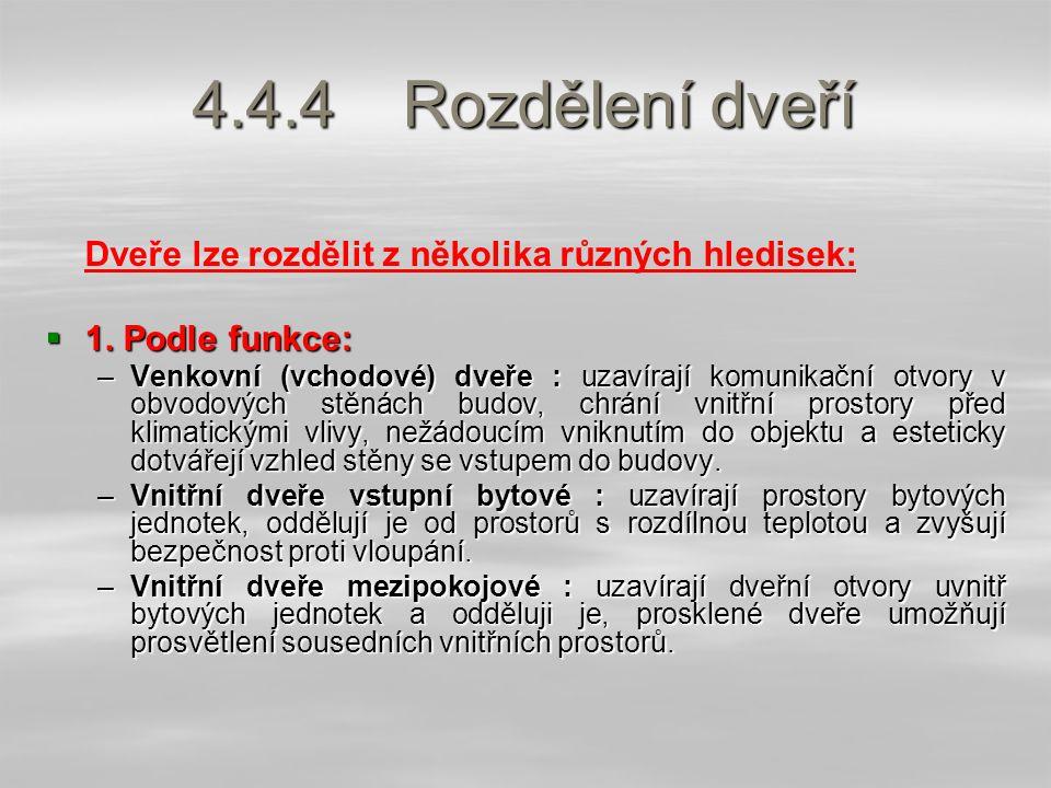 4.4.4Rozdělení dveří Dveře lze rozdělit z několika různých hledisek:  1.