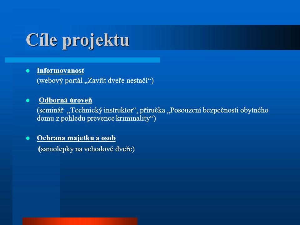 """Cíle projektu Informovanost (webový portál """"Zavřít dveře nestačí"""") Odborná úroveň (seminář """"Technický instruktor"""", příručka """"Posouzení bezpečnosti oby"""