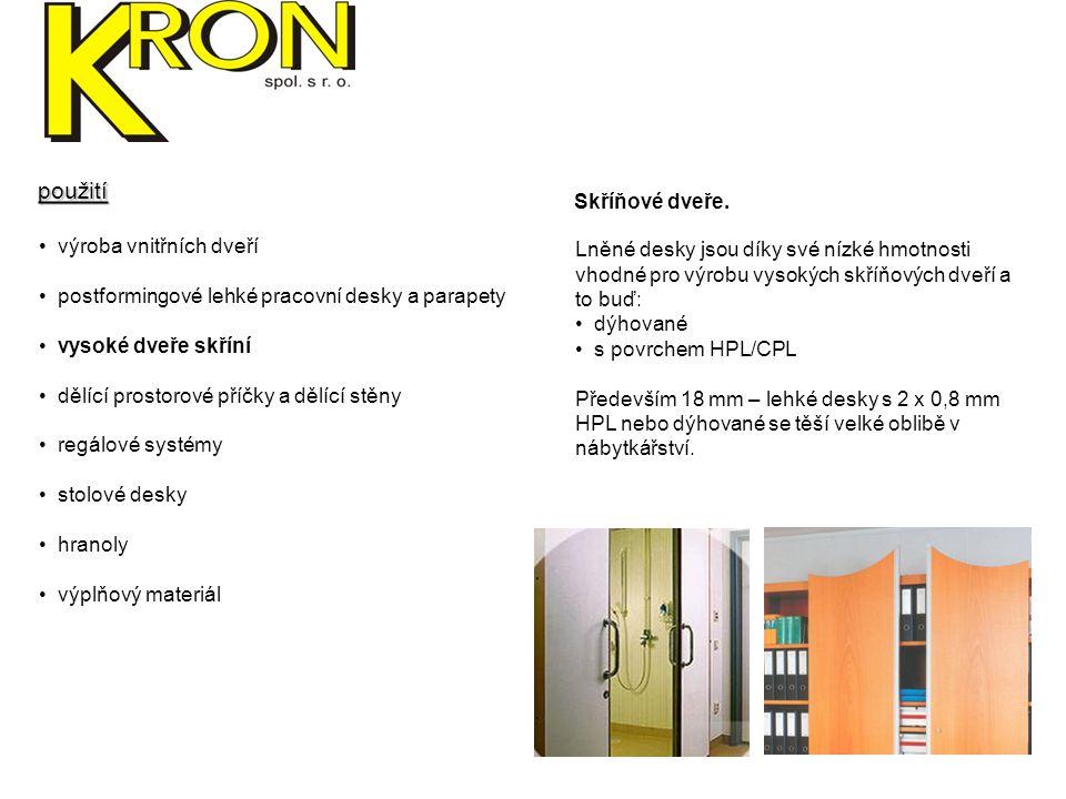 výroba vnitřních dveří postformingové lehké pracovní desky a parapety vysoké dveře skříní dělící prostorové příčky dělící stěny regálové systémy stolové desky hranoly výplňový materiál Dělící příčky.