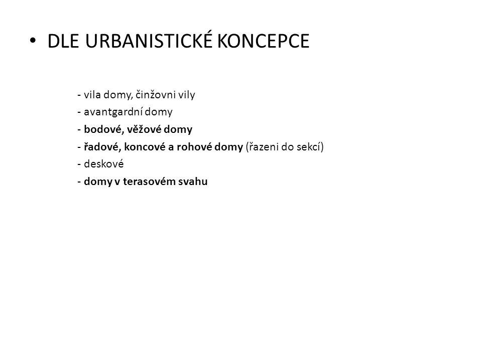 DLE URBANISTICKÉ KONCEPCE - vila domy, činžovni vily - avantgardní domy - bodové, věžové domy - řadové, koncové a rohové domy (řazeni do sekcí) - desk