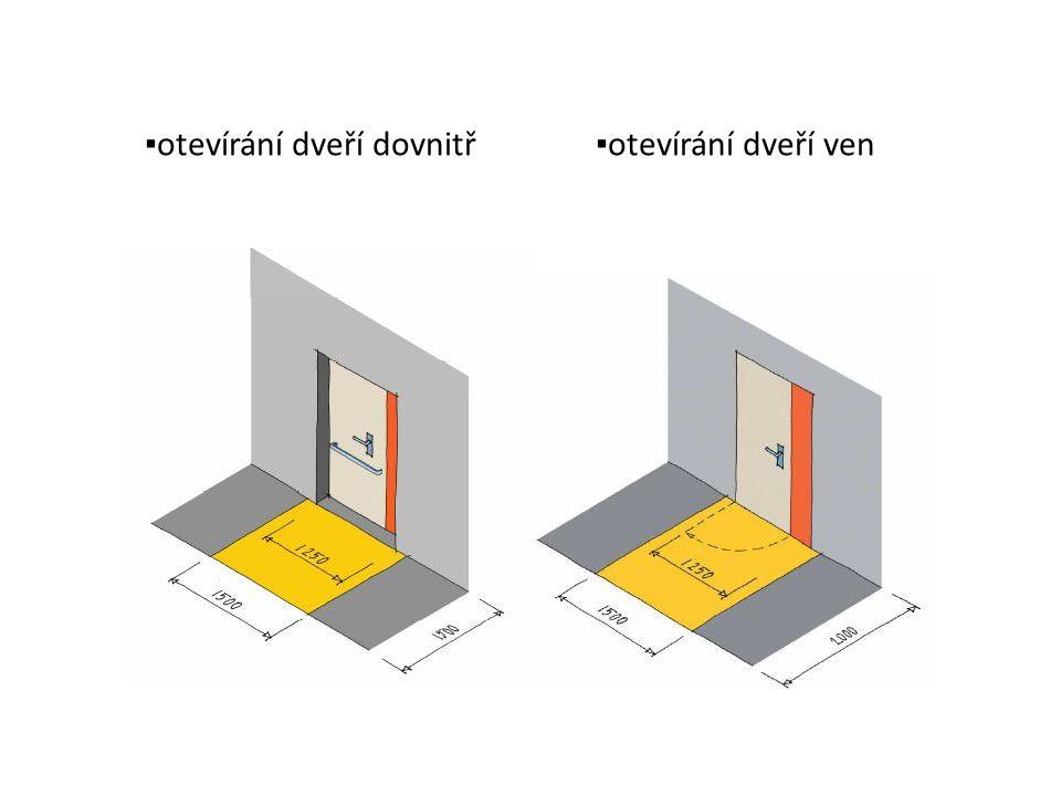 Schodiště sklony: - 0-10° rampy (ve stavbách sklon v souladu s požadavky vyhlášky 398/2009 o bezbariérovém užívání staveb) - 25-28° schodiště ve veř.