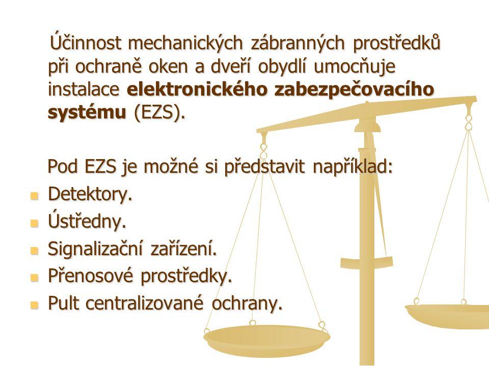 Účinnost mechanických zábranných prostředků při ochraně oken a dveří obydlí umocňuje instalace elektronického zabezpečovacího systému (EZS). Účinnost