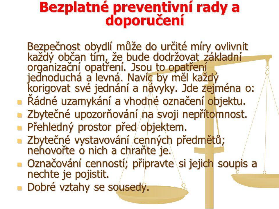 Bezplatné preventivní rady a doporučení Bezpečnost obydlí může do určité míry ovlivnit každý občan tím, že bude dodržovat základní organizační opatřen