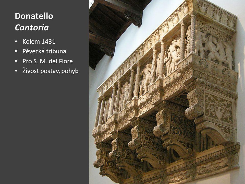 Donatello Cantoria Kolem 1431 Kolem 1431 Pěvecká tribuna Pěvecká tribuna Pro S. M. del Fiore Pro S. M. del Fiore Živost postav, pohyb Živost postav, p