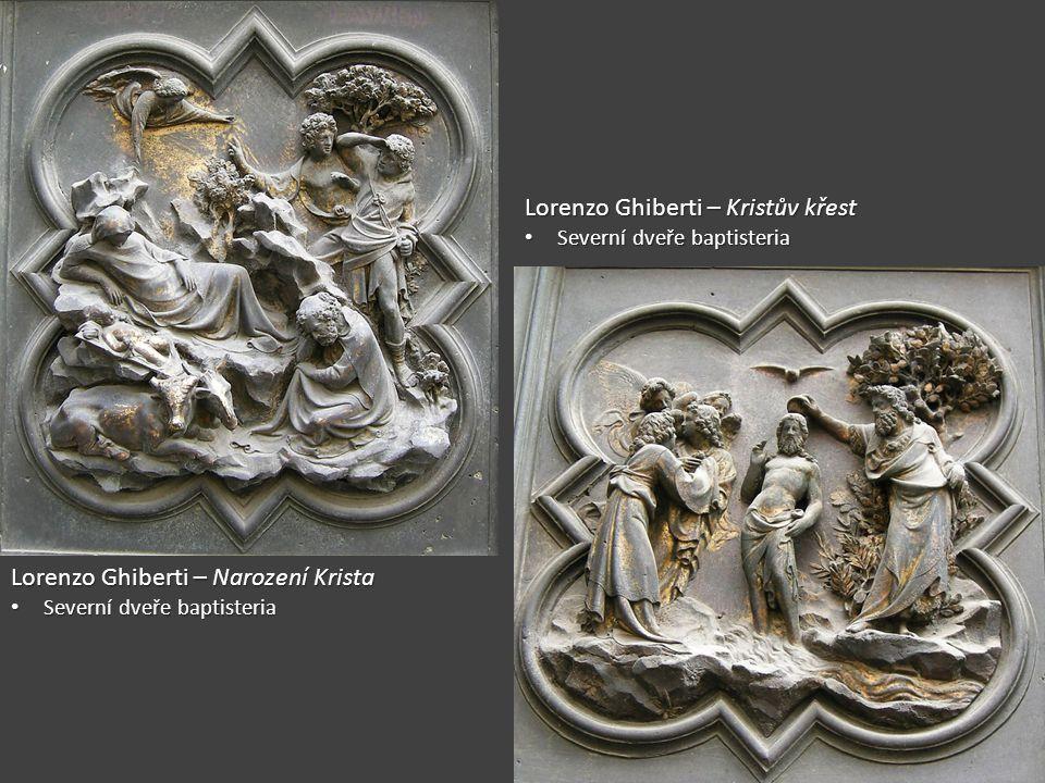 """Rajská brána florentského baptisteria 1424 – nová zakázka pro Ghibertiho 1424 – nová zakázka pro Ghibertiho Východní dveře baptisteria (naproti dómu) Východní dveře baptisteria (naproti dómu) Michelangelem označeny jako """"Rajská brána Michelangelem označeny jako """"Rajská brána Deset perspektivních čtvercových reliéfů Deset perspektivních čtvercových reliéfů Starozákonní výjevy Starozákonní výjevy Hra světla a stínu Hra světla a stínu 1452 – dokončení díla 1452 – dokončení díla"""