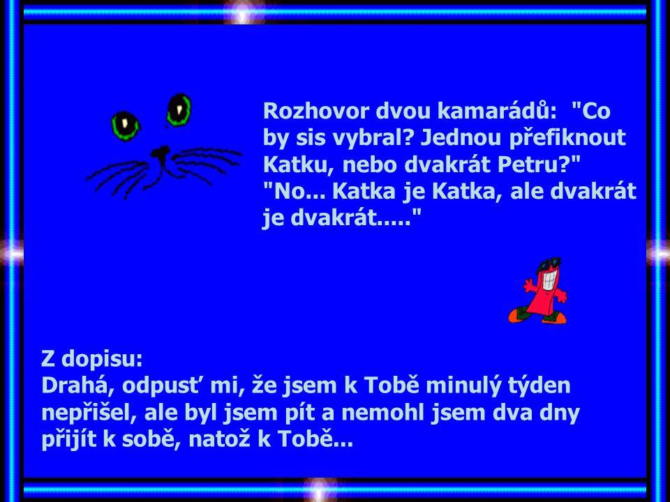 Rozhovor dvou kamarádů: Co by sis vybral.Jednou přefiknout Katku, nebo dvakrát Petru? No...