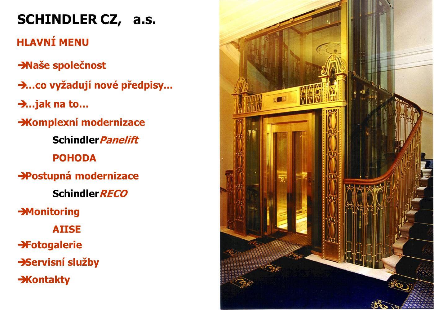 NAŠE SPOLEČNOST Hlavní aktivity Akciová společnost SCHINDLER CZ vznikla v roce 1993 (původně s názvem Výtahy Schindler, a.s.), kdy koncern koupil od Fondu národního majetku bývalý státní podnik Výtahy ČSFR.