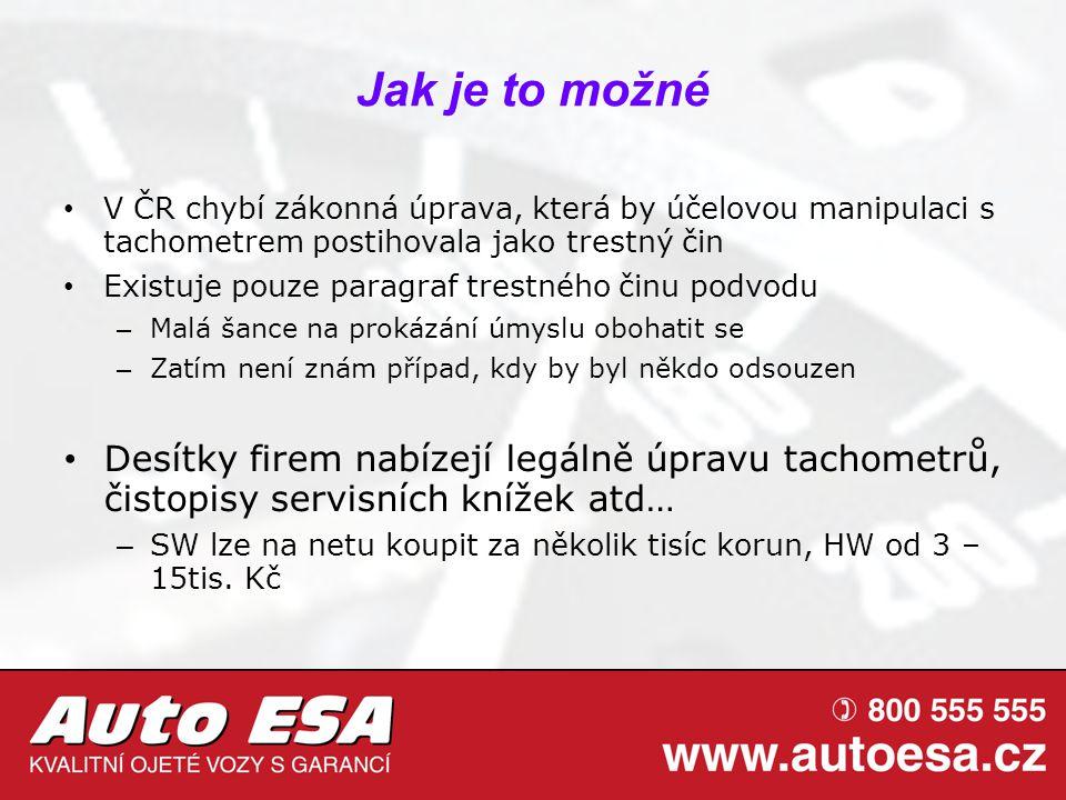 Jak je to možné V ČR chybí zákonná úprava, která by účelovou manipulaci s tachometrem postihovala jako trestný čin Existuje pouze paragraf trestného č