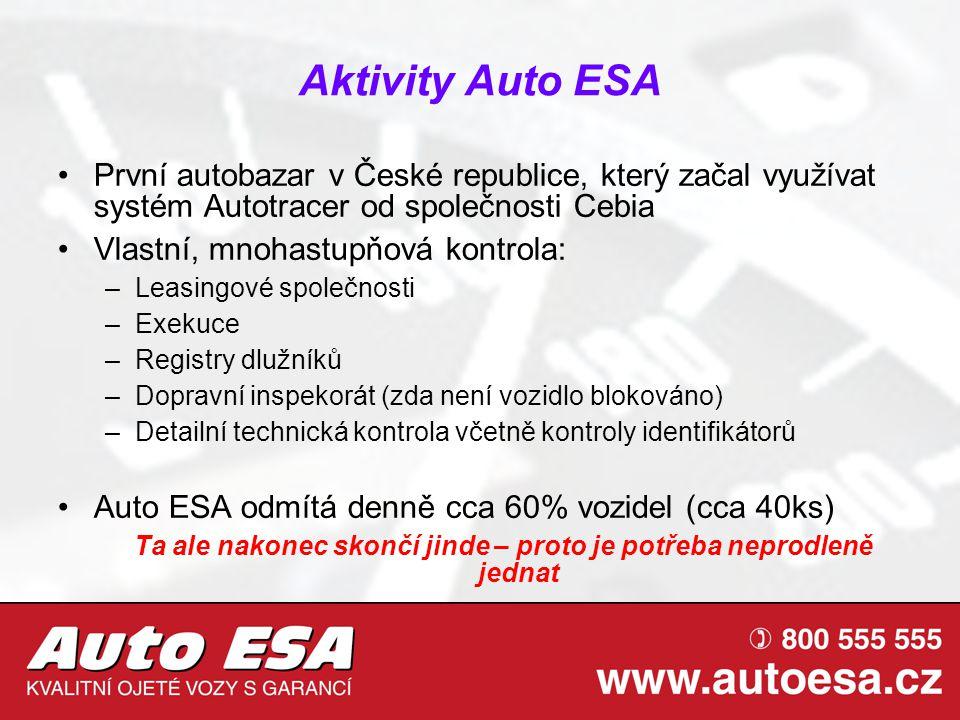 Aktivity Auto ESA První autobazar v České republice, který začal využívat systém Autotracer od společnosti Cebia Vlastní, mnohastupňová kontrola: –Lea