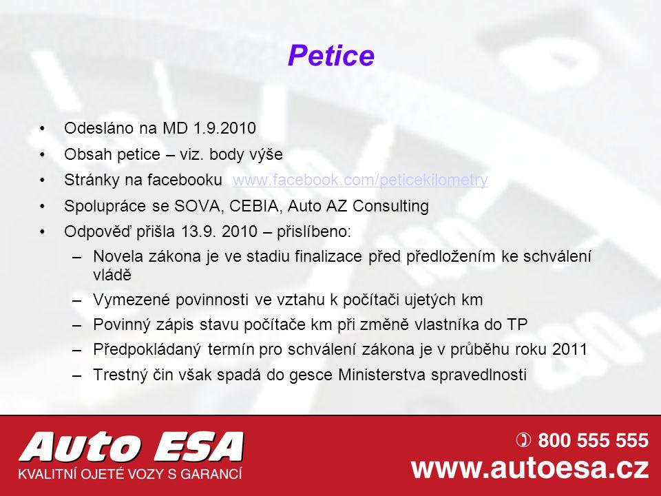 Petice Odesláno na MD 1.9.2010 Obsah petice – viz. body výše Stránky na facebooku www.facebook.com/peticekilometrywww.facebook.com/peticekilometry Spo