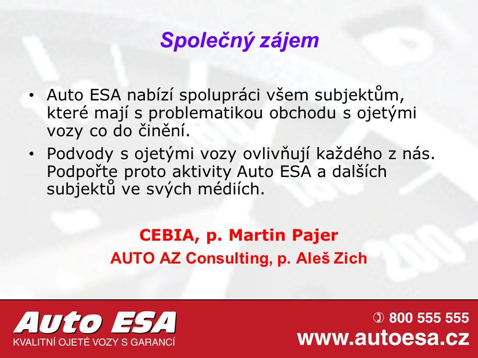 Společný zájem Auto ESA nabízí spolupráci všem subjektům, které mají s problematikou obchodu s ojetými vozy co do činění. Podvody s ojetými vozy ovliv