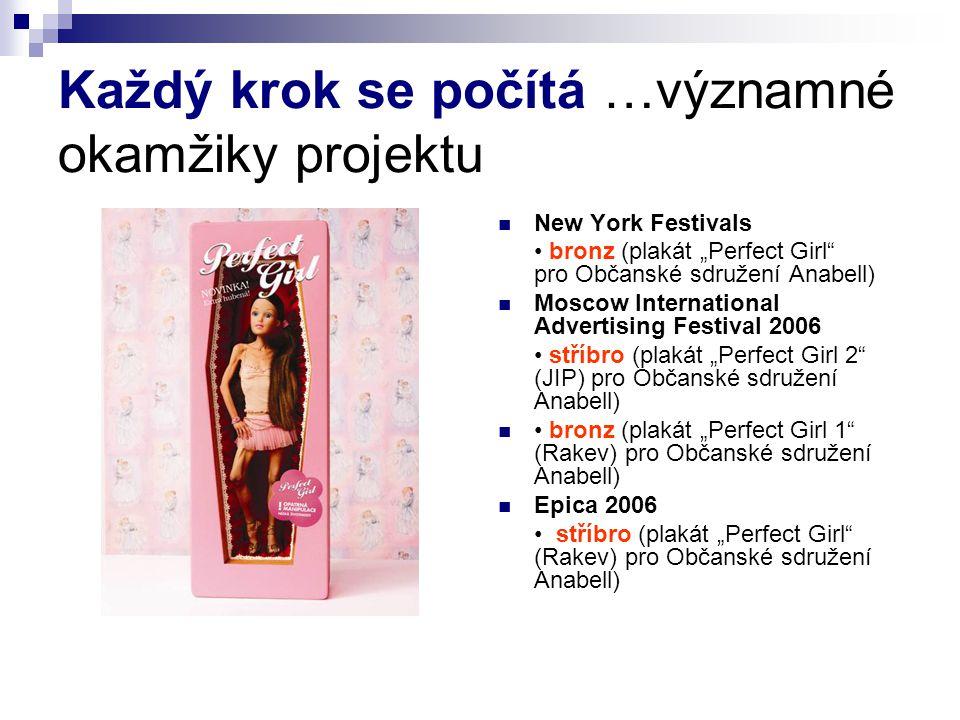"""Každý krok se počítá …významné okamžiky projektu New York Festivals bronz (plakát """"Perfect Girl"""" pro Občanské sdružení Anabell) Moscow International A"""