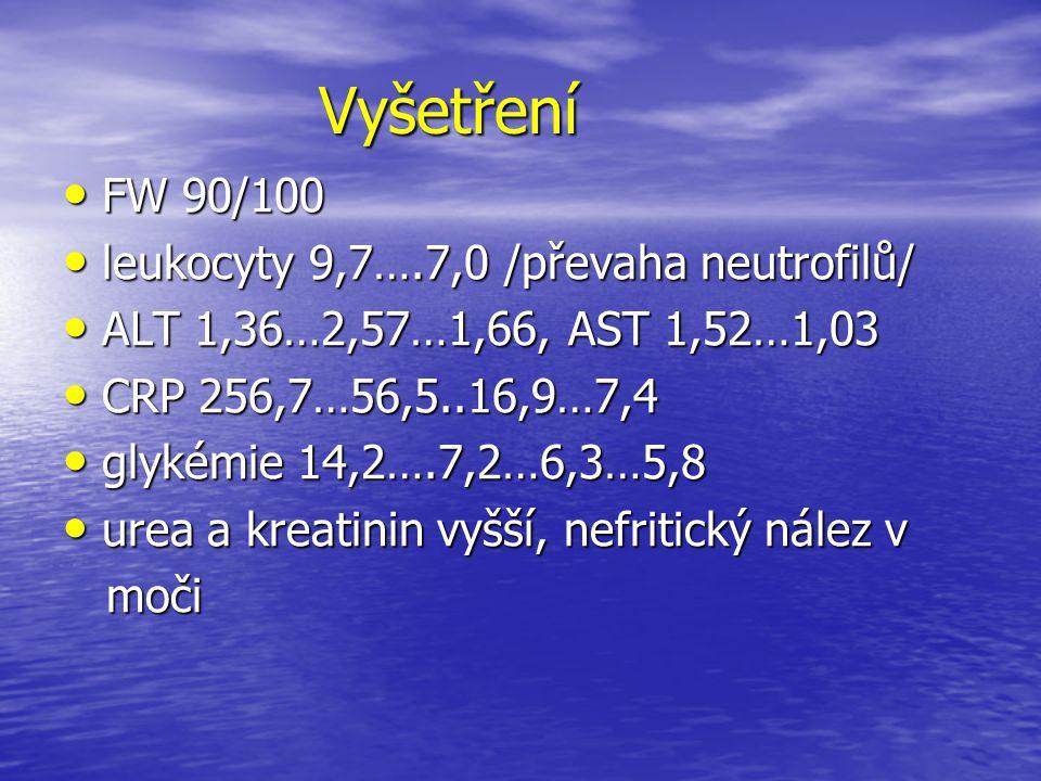Vyšetření Vyšetření FW 90/100 FW 90/100 leukocyty 9,7….7,0 /převaha neutrofilů/ leukocyty 9,7….7,0 /převaha neutrofilů/ ALT 1,36…2,57…1,66, AST 1,52…1