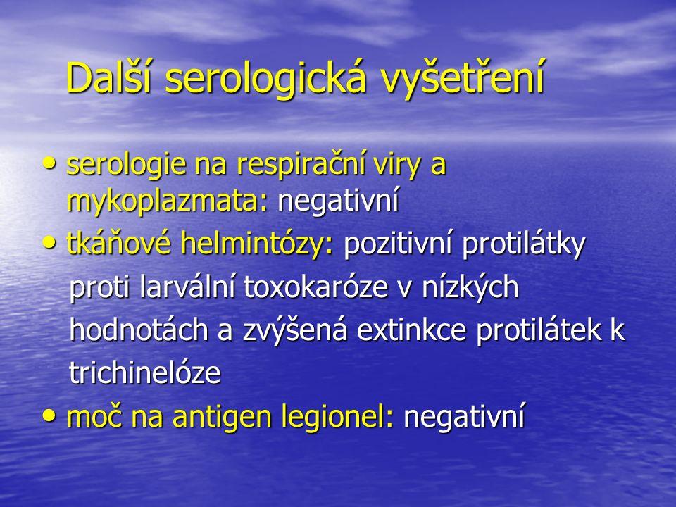 Další serologická vyšetření serologie na respirační viry a mykoplazmata: negativní serologie na respirační viry a mykoplazmata: negativní tkáňové helm