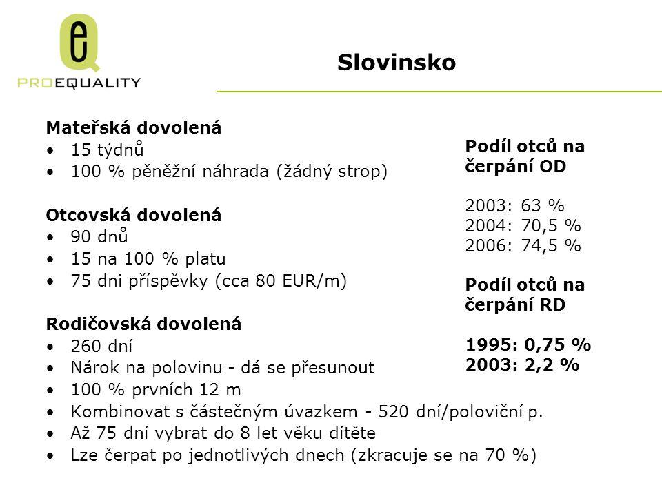 Slovinsko Mateřská dovolená 15 týdnů 100 % pěněžní náhrada (žádný strop) Otcovská dovolená 90 dnů 15 na 100 % platu 75 dni příspěvky (cca 80 EUR/m) Rodičovská dovolená 260 dní Nárok na polovinu - dá se přesunout 100 % prvních 12 m Kombinovat s částečným úvazkem - 520 dní/poloviční p.