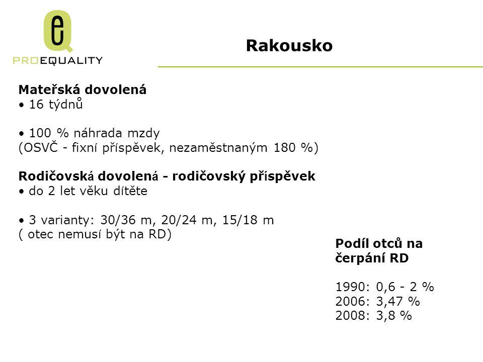 Rakousko Mateřská dovolená 16 týdnů 100 % náhrada mzdy (OSVČ - fixn í př í spěvek, nezaměstnaným 180 %) Rodičovsk á dovolen á - rodičovský př í spěvek do 2 let věku d í těte 3 varianty: 30/36 m, 20/24 m, 15/18 m ( otec nemus í být na RD) Podíl otců na čerpání RD 1990: 0,6 - 2 % 2006: 3,47 % 2008: 3,8 %