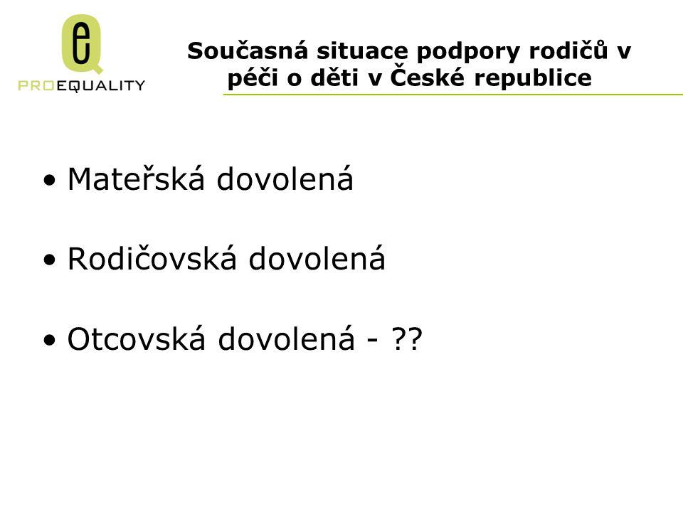 Současná situace podpory rodičů v péči o děti v České republice Mateřská dovolená Rodičovská dovolená Otcovská dovolená - ??