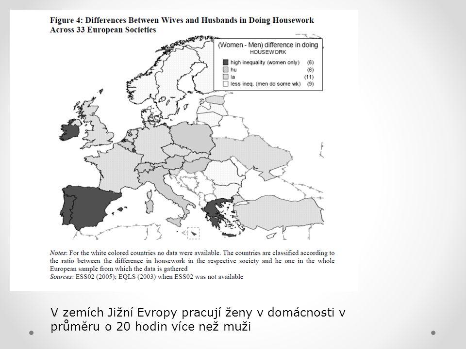 V zemích Jižní Evropy pracují ženy v domácnosti v průměru o 20 hodin více než muži