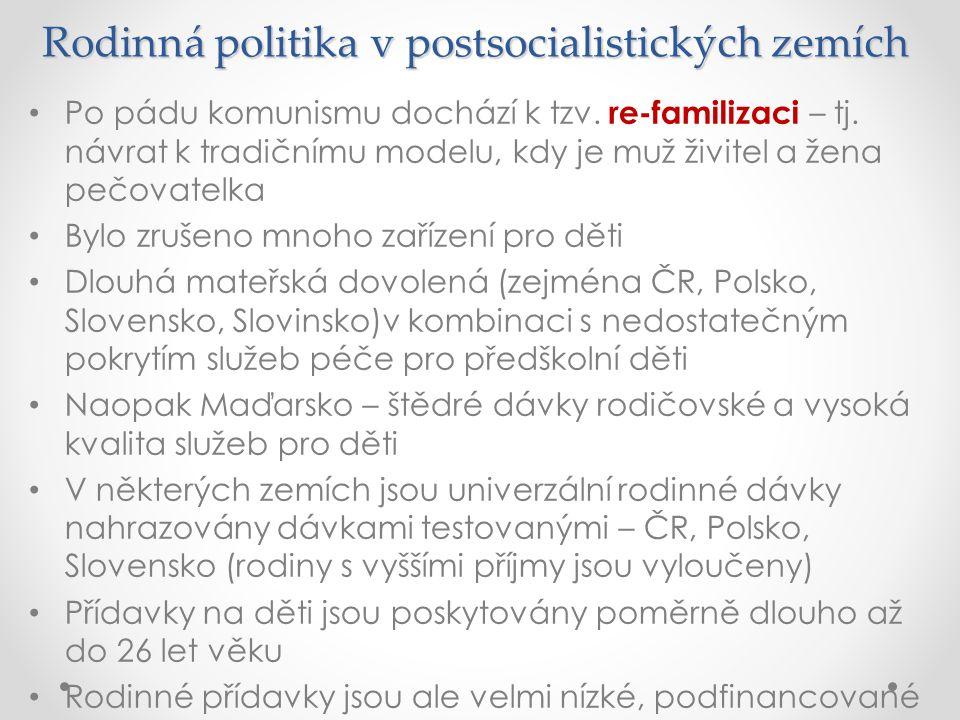 Rodinná politika v postsocialistických zemích Po pádu komunismu dochází k tzv. re-familizaci – tj. návrat k tradičnímu modelu, kdy je muž živitel a že