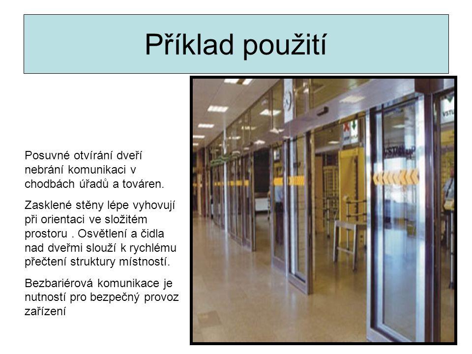 Příklad použití Posuvné otvírání dveří nebrání komunikaci v chodbách úřadů a továren.