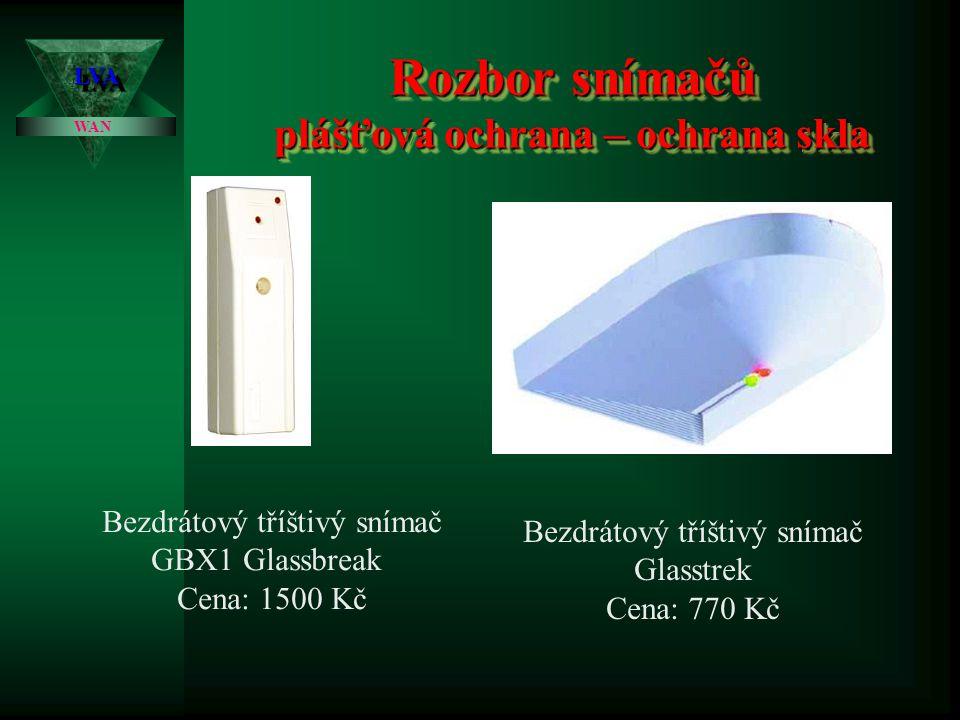 Rozbor snímačů plášťová ochrana – ochrana skla LVALVA WAN Zapojení: dva způsoby zapojení: