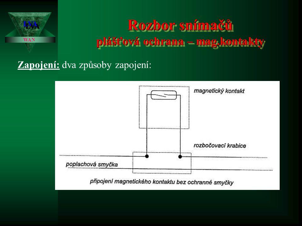 Rozbor snímačů plášťová ochrana – mag.kontakty LVALVA WAN Spolehlivost: běžné provedení snímačů se zpravidla zařazuje do kategorie 2 – 3. Pokud je vyž
