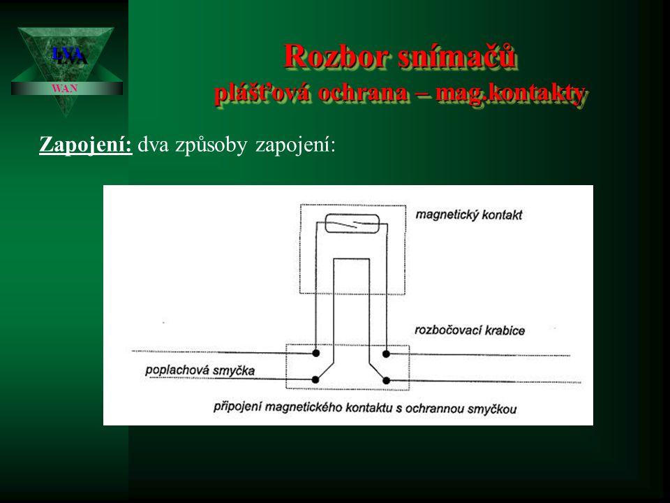 Rozbor snímačů plášťová ochrana – mag.kontakty LVALVA WAN Zapojení: dva způsoby zapojení: