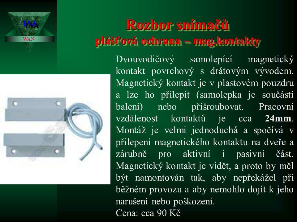 Rozbor snímačů plášťová ochrana – mag.kontakty LVALVA WAN Dvouvodičový magnetický mini kontakt závrtný válcového tvaru v hladkém provedení. Pracovní v