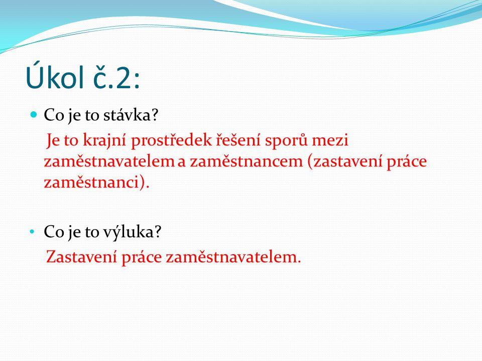 Úkol č.2: Co je to stávka.