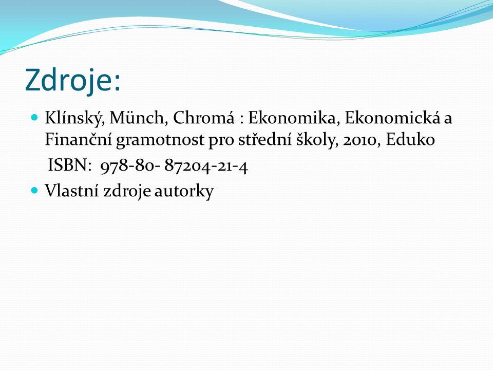 Zdroje: Klínský, Münch, Chromá : Ekonomika, Ekonomická a Finanční gramotnost pro střední školy, 2010, Eduko ISBN: 978-80- 87204-21-4 Vlastní zdroje autorky