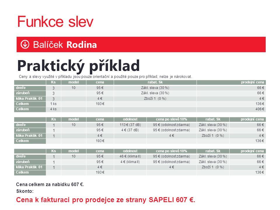 Funkce slev Balíček Rodina Praktický příklad Cena celkem za nabídku 607 €.