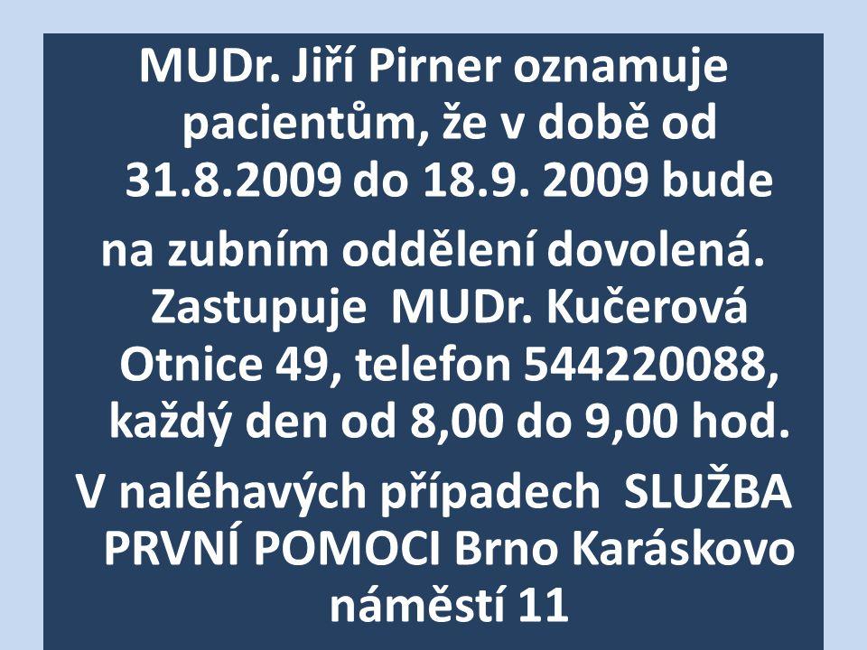 MUDr. Jiří Pirner oznamuje pacientům, že v době od 31.8.2009 do 18.9.