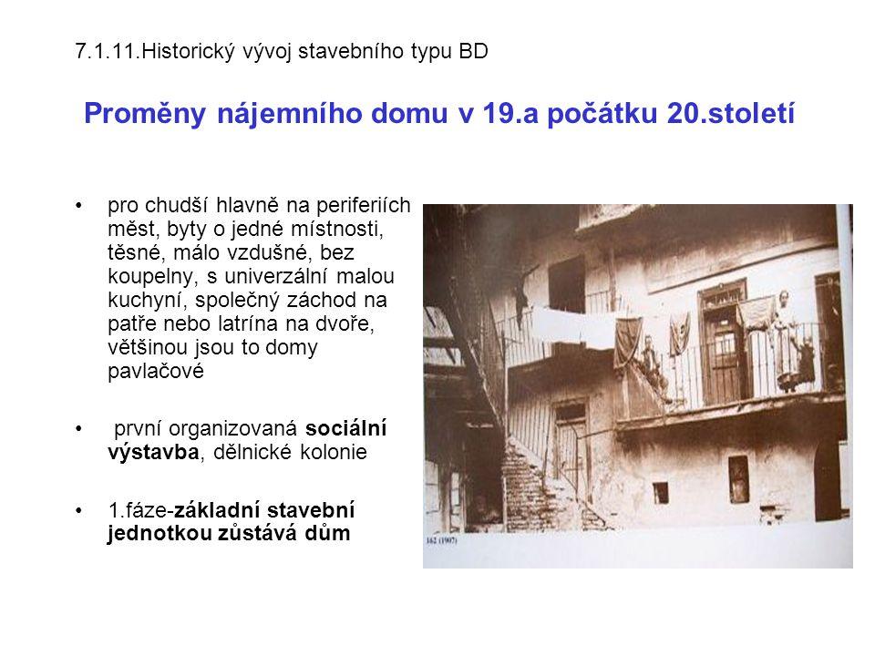 7.1.11.Historický vývoj stavebního typu BD Proměny nájemního domu v 19.a počátku 20.století pro chudší hlavně na periferiích měst, byty o jedné místno